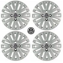 Jogo Calota Aro 14 Gol G5 Trend Voyage Saveiro Parati Volkswagen Grid Prata 4 Peças + Emblema Resinado - Grid calotas