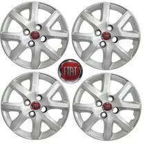 Jogo Calota Aro 14 Grand Siena EL 1.4 Palio Fiat 2014 Grid Prata 4 Peças + Emblema Resinado - Grid calotas