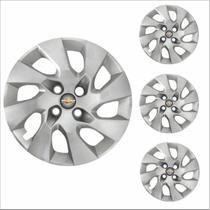 Jogo Calota Aro 14 Onix Prisma 2014 à 2016 Chevrolet GM + Emblema Resinado - Grid