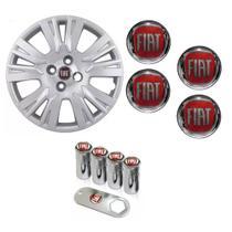 Jogo Calota Aro 14 Palio Essence Fiat Grid Prata + Emblema Resinado + Tampa Ventil - Grid calotas