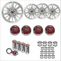 Jogo Calota Aro 14 Siena Palio 2009 2010 Fiat + Emblema Resinado + Tampa Ventil + Capa Parafuso - Grid