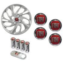 Jogo Calota Aro 14 Uno Attractive 2015 2016 Fiat Grid Prata + Emblema Resinado + Tampa Ventil - Grid calotas