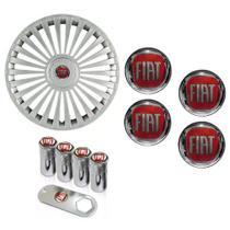 Jogo Calota Aro 15 Grid Premium Tuning Europa Prata + Emblema Resinado Fiat + Tampa Ventil Palio Uno Punto Linea Strada Idea Siena Fiorino Doblo Mobi - Grid calotas