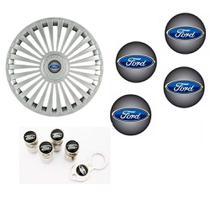 Jogo Calota Aro 15 Grid Premium Tuning Europa Prata + Emblema Resinado Ford + Tampa Ventil (Fiesta, Ka, Ecosport, Focus) - Grid calotas