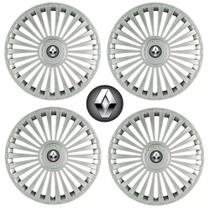 Jogo Calota Aro 15 Grid Premium Tuning Europa Prata + Emblema Resinado Renault (Sandero, Logan, Clio, Scenic, Megane) - Grid calotas