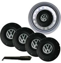 Jogo Calota Central Volksvagem Aro 14 Roda Ferro 4 Peças - Volkswagen