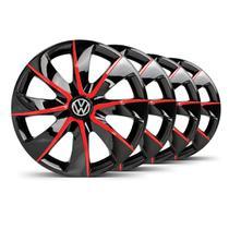 Jogo Calota Prime Aro 14 Preta / Vermelha VW Fox - Elitte