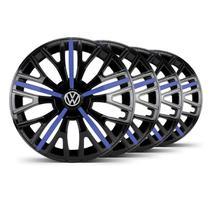 Jogo Calota Triton Sport Aro 14 Preta / Azul  VW Fox - Elitte