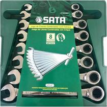 Jogo chaves combinada c/ catraca 8 pc mm sata -