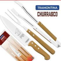 Jogo Churrasco Faca Trinhchante Pegador 3 Peças Tramontina -