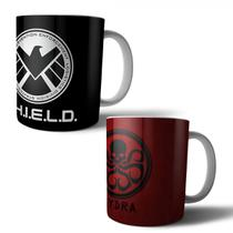 Jogo com 2 Canecas Porcelana Shield Hydra Marvel Agents of S.H.I.E.L.D. 350ml (BD01) - Skin t18