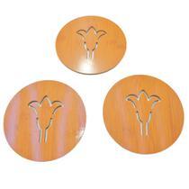 Jogo com 3 Descansos De Panela De Bambu Redondo Flor 21Cm - Imporiente