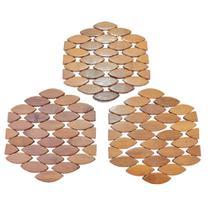 Jogo com 3 Descansos De Panela De Bambu Sextavado 16X16Cm - Imporiente
