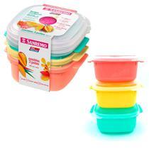 Jogo com 3 potes 480ml para mantimentos Livre BPA com tampa - Freezer e microondas - Sanremo