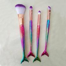 Jogo Com 4 Pincéis Para Maquiagem Com Calda De Sereia Kit - Rpc