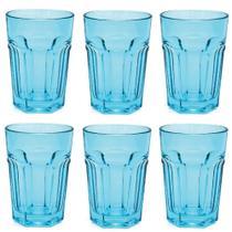Jogo com 6 Copos Country Long Drink em Vidro Azul 400ml - Libbey