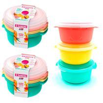 Jogo com 6 potes de mantimentos alimentos ração 530ml com tampa para freezer e microondas Sanremo -