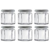 Jogo com 6 Potes de Vidro Sextavado com Tampa 180ml - Wheaton -