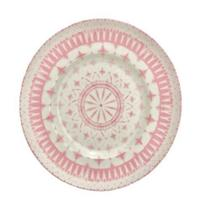 Jogo com 6 pratos de sobremesa em porcelana rosa - LHermitage