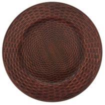 Jogo com 6 Sousplat Redondo Rattan Bronze 33 cm Mimo Style -