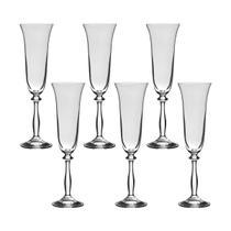 Jogo com 6 Taças de Cristal Para Champagne 190 ml Linha Angela Bohemia -