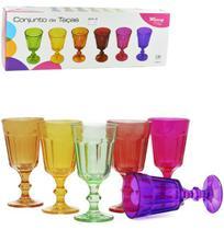 Jogo com 6 Taças de Vidro Colors 235ml - Ref. VDA03001 - Wincy