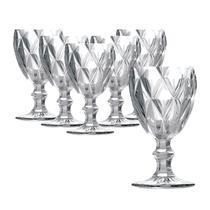 Jogo com 6 Taças Vinho Água Diamond Cristal Clear - Class Home