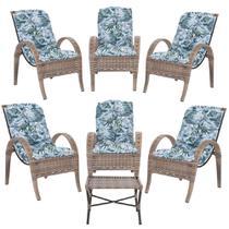 Jogo com Cadeiras 6Un e Mesa p/ Jardim Edicula Varanda Descanso Trama Napoli Plus Argila A06 - Click Moveis Artesanais