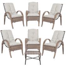 Jogo com Cadeiras 6Un e Mesa p/ Jardim Edicula Varanda Descanso Trama Napoli Plus Argila A12 - Click Moveis Artesanais