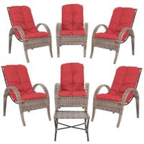 Jogo com Cadeiras 6Un e Mesa p/ Jardim Edicula Varanda Descanso Trama Napoli Plus Argila A16 - Click Moveis Artesanais