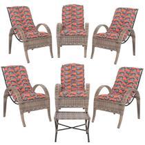Jogo com Cadeiras 6Un e Mesa p/ Jardim Edicula Varanda Descanso Trama Napoli Plus Argila A19 - Click Moveis Artesanais