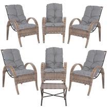 Jogo com Cadeiras 6Un e Mesa p/ Jardim Edicula Varanda Descanso Trama Napoli Plus Argila A23 - Click Moveis Artesanais