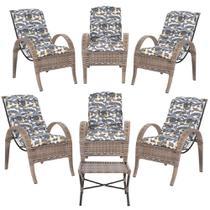 Jogo com Cadeiras 6Un e Mesa p/ Jardim Edicula Varanda Descanso Trama Napoli Plus Argila A25 - Click Moveis Artesanais