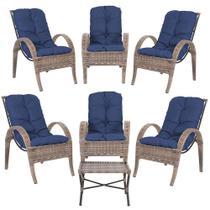 Jogo com Cadeiras 6Un e Mesa p/ Jardim Edicula Varanda Descanso Trama Napoli Plus Argila A29 - Click Moveis Artesanais