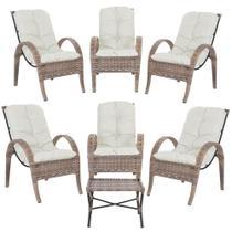 Jogo com Cadeiras 6Un e Mesa p/ Jardim Edicula Varanda Descanso Trama Napoli Plus Argila A34 - Click Moveis Artesanais