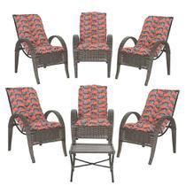 Jogo com Cadeiras 6Un e Mesa p/ Jardim Edicula Varanda Descanso Trama Napoli Plus Pedra Ferro A19 - Click Moveis Artesanais