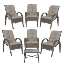 Jogo com Cadeiras 6Un e Mesa p/ Jardim Edicula Varanda Descanso Trama Napoli Plus Pedra Ferro A38 - Click Moveis Artesanais