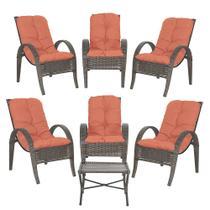 Jogo com Cadeiras 6Un e Mesa p/ Jardim Edicula Varanda Descanso Trama Napoli Plus Pedra Ferro A40 - Click Moveis Artesanais
