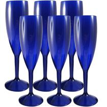 Jogo Com Seis Taças Para Espumante Champanhe 170ml Plástico Azul - Zanline