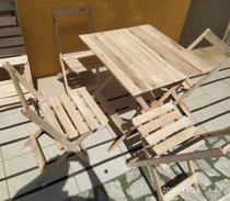 Jogo Conjunto Mesa Com 4 Cadeiras De Madeira Dobravel 70x70 Para Bar  Restaurante Sem Pintura - Mugia
