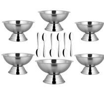 Jogo Conjunto Taça Sorvete Com Colher Inox 12 Peças - Yazi -