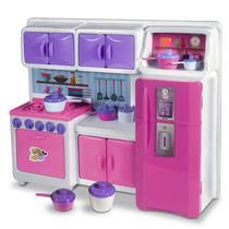 Jogo Cozinha Infantil Completa Geladeira Fogão Armários - Lua De Cristal