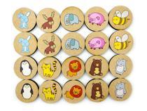 Jogo da Memória Animais - Brinquedo Educativo em Madeira - Elefante Colorido Brinquedos