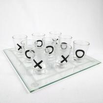 Jogo Da Velha Drinks/Shot Com tabuleiro de Vidro + 9 copinhos 13X13cm - Rio Master