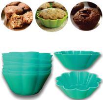 Jogo de 12 Forminhas para Cupcake Flor Silicone Verde kehome -