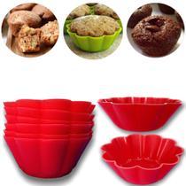 Jogo de 12 Forminhas para Cupcake Flor Silicone Vermelha kehome -
