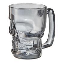 Jogo de 2 canecas cerveja  vidro caveira 380ml cinza luster - Dynasty