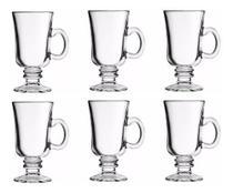 Jogo de 6 Canecas de Vidro Taça Café Cappuccino Royal 230ml -