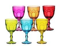 Jogo de 6 de taças coloridas para vinho 250 ml marrakesh hauskraft -