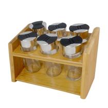 Jogo de 6 porta condimentos em vidro com suporte de bambu 20X12X14Cm - Dynasty -